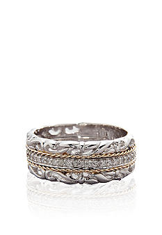 Belk & Co. Diamond Band in Sterling Silver with 14k Yellow Gold