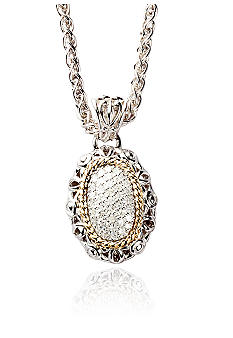 Belk & Co. 1/3 ct. t.w. Diamond Oval Pendant in Sterling Silver with 14k Gold