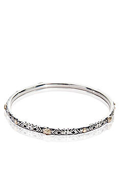 Belk & Co. Sterling Silver and 14k Yellow Gold Flower Bangle Bracelet