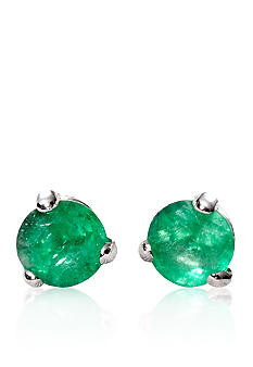 Belk & Co. 14k White Gold Emerald Stud Earrings