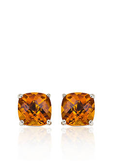 Belk & Co. 14k White Gold 6mm Citrine Stud Earrings