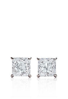 Belk & Co. 14k White Gold 1 ct. t.w. Princess Cut Cubic Zirconia Earrings