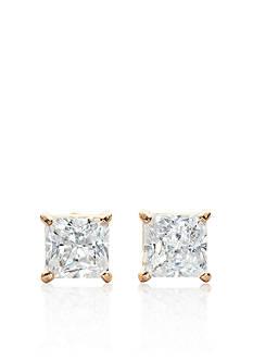 Belk & Co. 14k Yellow Gold 1.00 ct. t.w. Princess Cut Cubic Zirconia Earrings