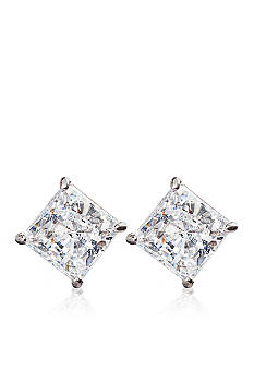 Cubic Zirconia Studs White Gold Bat Wall