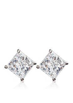 Belk & Co. 14k White Gold 2.00 ct. t.w. Princess Cut Cubic Zirconia Earrings