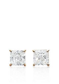 Belk & Co. 14k Yellow Gold 2.00 ct. t.w. Princess Cut Cubic Zirconia Earrings