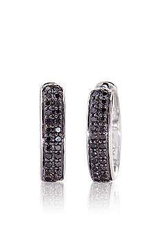 Belk & Co. Black Diamond Hoop Earrings in Sterling Silver