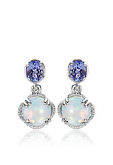 Belk & Co. Sterling Silver Created Opal and Tanzanite Earrings