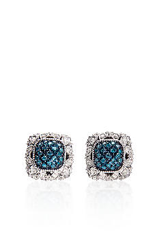 Belk & Co. Blue and White Diamond Earrings in Sterling Silver