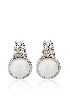 Belk & Co. Sterling Silver and 14k Pearl Earrings