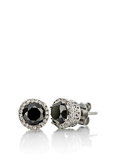 Belk & Co. Black and White Diamond Stud Earrings in Sterling Silver
