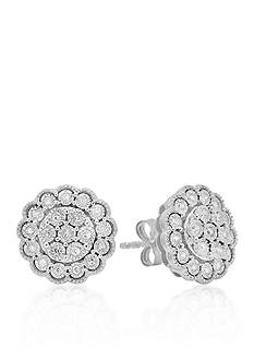 Belk & Co. Diamond Cluster Flower Earrings in Sterling Silver
