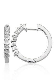 Belk & Co. Diamond Illusion Hoop Earrings in Sterling Silver