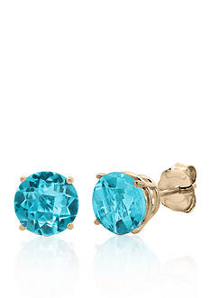 Belk & Co. 10k Yellow Gold Blue Topaz Stud Earrings