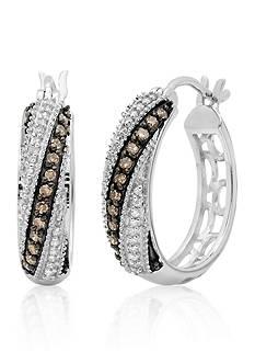 Belk & Co. Brown and White Diamond Hoop Earrings in Sterling Silver
