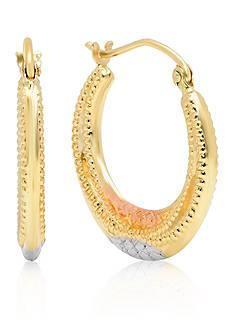 Belk & Co. 14k Tri-Tone Round Hoop Earrings