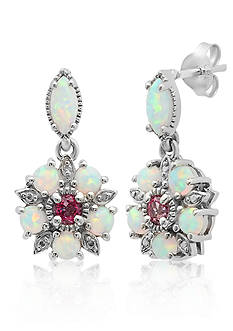 Belk & Co. Created Opal and Pink Topaz Earrings in Sterling Silver