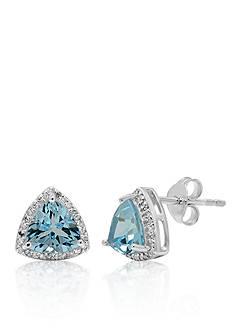 Belk & Co. Blue Topaz and Diamond Earrings in Sterling Silver