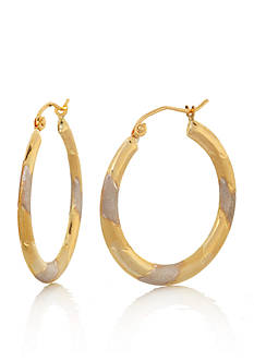 Belk & Co. 10k Two Tone Swirl Hoop Earrings