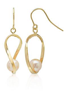Belk & Co. Freshwater Pearl Twist Earrings in 10k Yellow Gold
