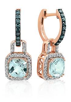 Belk & Co. Aquamarine, Blue Diamond, and White Diamond Earrings in 10k Rose Gold
