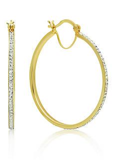 Belk & Co. 10k Yellow Gold White Swarovski Crystal Hoop Earrings