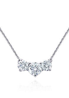 Belk & Co. Platinum Plated Sterling Silver 3 Stone Cubic Zirconia Necklace