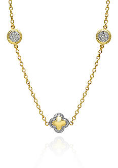Belk & Co. 10k Yellow Gold Swarovski Crystal Clover Necklace