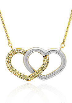 Belk & Co. 10k Two Tone Gold Double Heart Swarovski Crystal Necklace
