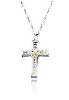 Belk & Co. Diamond Cross Pendant in Sterling Silver with 14k Gold