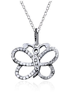 Belk & Co. Diamond Butterfly Pendant in Sterling Silver