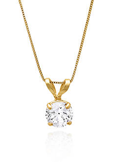 Belk & Co. 14k Yellow Gold 5mm Cubic Zirconia Pendant