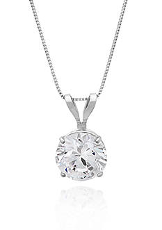 Belk & Co. 14k White Gold 6mm Cubic Zirconia Pendant