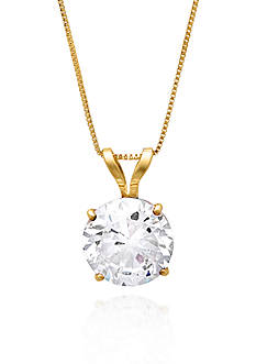 Belk & Co. 14k Yellow Gold 7mm Cubic Zirconia Pendant
