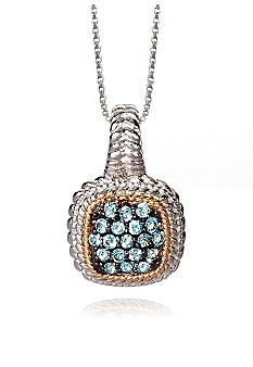 Belk & Co. Sterling Silver with 14k Gold Blue Topaz Pendant