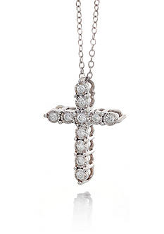 Belk & Co. Diamond Illusion Cross Pendant in Sterling Silver