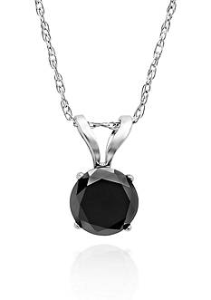 Belk & Co. 1/2 ct. t.w. Black Diamond Solitaire Pendant in 14k White Gold