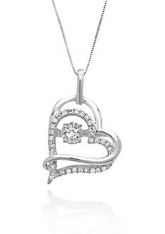 Move My Heart Moving Diamond Double Heart Pendant in 10k White Gold