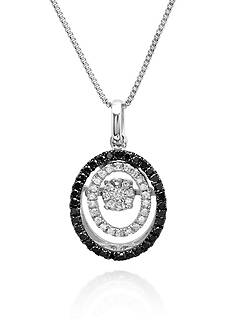 Move My Heart Moving Black and White Diamond Pendant set in Sterling Silver