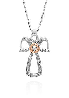 Belk & Co. Diamond Angel Pendant in Sterling Silver and 14k Rose Gold