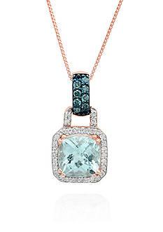 Belk & Co. Aquamarine, Blue Diamond, and White Diamond Pendant in 10k Rose Gold