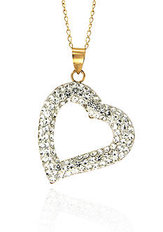 Belk & Co. Swarovski Crystal Heart Pendant in 10k Yellow Gold