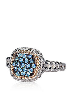 Belk & Co. Sterling Silver with 14k Gold Blue Topaz Ring