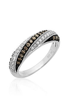 Belk & Co. Brown and White Diamond Band in Sterling Silver