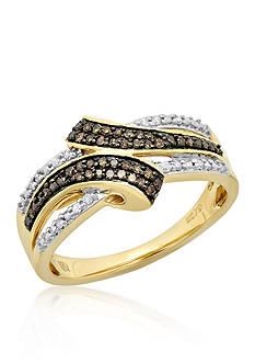 Belk & Co. Brown Diamond and White Diamond Ring in 10k Yellow Gold