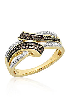 Belk & Co. Brown Diamond and White Diamond Ring in 10k Yellow Gold