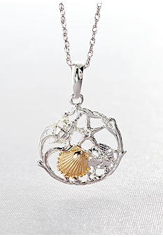 Belk & Co. Sterling Silver with 14k Gold Multi Shell Cluster Pendant
