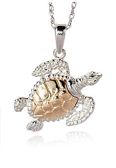 Belk & Co. Sterling Silver with 14k Gold Sea Turtle Pendant