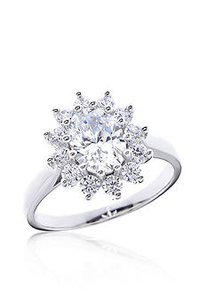 Belk & Co. Oval Cubic Zirconia Ring set in Platinum Plated Sterling Silver