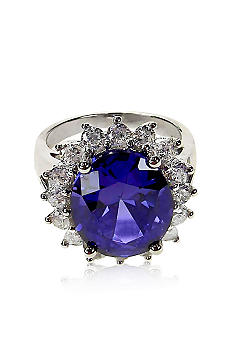 Belk & Co. Platinum Plated Sterling Silver Simulated Tanzanite and Cubic Zirconia Ring <br>
